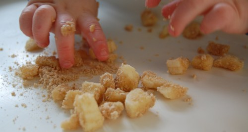Bananas dusted with cheerios